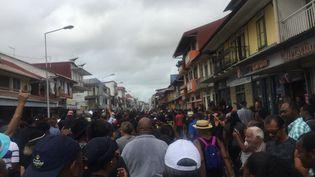 La marche du 28 mars à Cayenne (Guyane). (CITIZENSIDE/NEGAYAH MARANH / CITIZENSIDE)