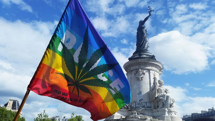 "(A la ""marche du cannabis"" samedi à Paris. Radio France / Nicolas Mathias)"
