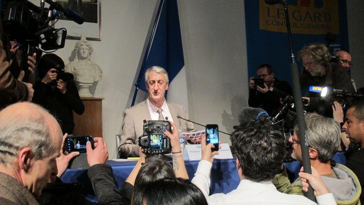 Le socialiste Denis Bouad, élu président du conseil départemental du Gard, le 2 avril 2015 à Nîmes. (ILAN CARO / FRANCETV INFO)