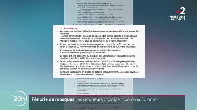 Pénurie de masques : Jérôme Salomon accablé par la commission d'enquête du Sénat