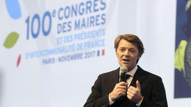 François Baroin, président de l'Association des maires de France, à l'ouverture du 100e Congrès des maires, à Paris, le 21 novembre 2017. (JACQUES DEMARTHON / AFP)