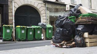 Des poubelles amoncelées dans une rue de Paris, le 8 juin 2016. (GEOFFROY VAN DER HASSELT / AFP)
