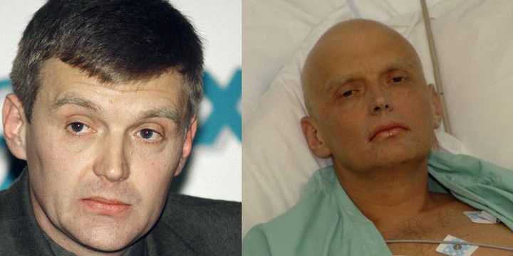 Alexandre Litvinenko en 1998 (à g.) et lors de son hospitalisation en soins intensifs, en 2006. (Reuters - Natasja Weitsz/Getty Images )