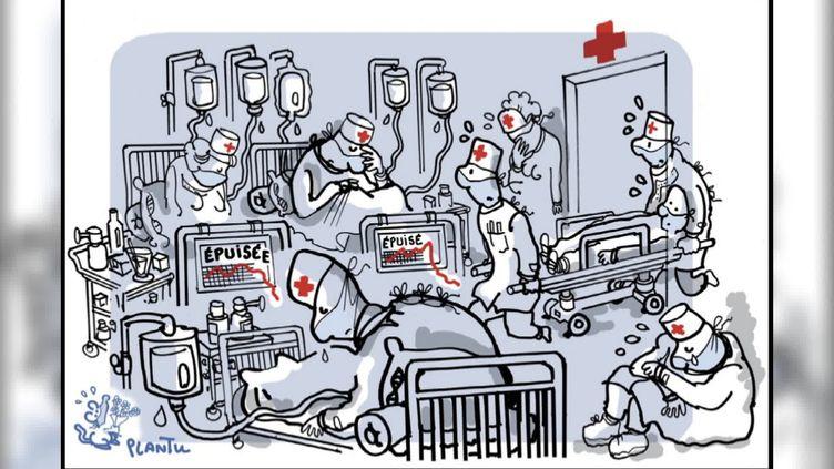 Plantu a offert aux hôpitaux une centaine de ses croquis sur la crise sanitaire (Plantu)