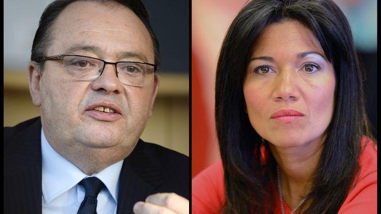 Le député Patrick Mennucci et la sénatrice Samia Ghali s'affronteront au second tour de la primaire socialiste à Marseille (Bouches-du-Rhône). (GERARD JULIEN / ANNE-CHRISTINE POUJOULAT / AFP)