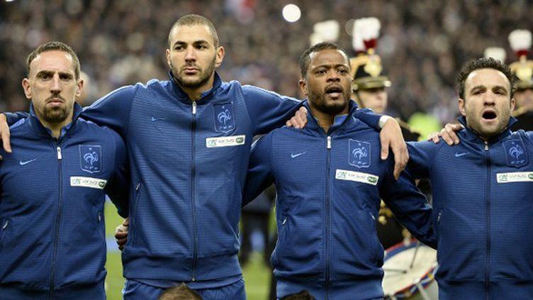 Les joueurs de l'équipe de France, Ribéry, Benzema, Evra et Valbuena