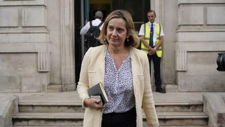 La ministre britannique Amber Rudd quitte son cabinet, le 3 septembre 2019 à Londres. (NIKLAS HALLE'N / AFP)