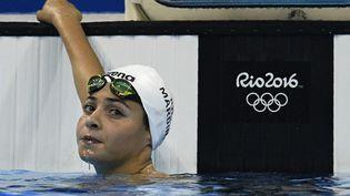 Yusra Mardini, le 6 août 2016, dans le bassin olympique de Rio (Brésil). (MARTIN BUREAU / AFP)