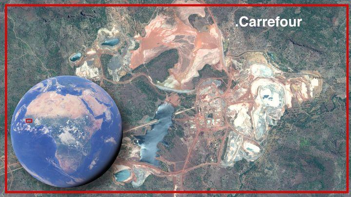 La mine de Lefa est située au nord de la Guinée. Au bord des lacs de résidus de boues cyanurées, le village de Fayala-Carrefour. (GOOGLE MAPS / MONTAGE)
