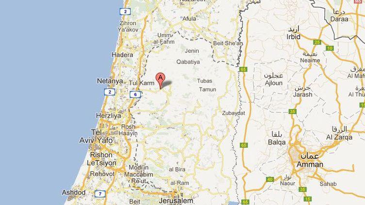 L'accident a eu lieu à proximité de la colonie israélienne d'Einav, dans le nord de la Cisjordanie. (GOOGLE MAPS / FRANCETV INFO)
