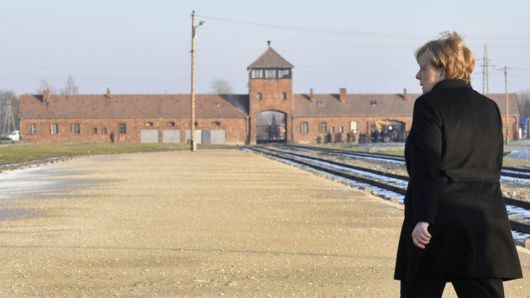 La chancelière allemande Angela Merkel, le 6 décembre 2019 à Oswiecim (Pologne). (JOHN MACDOUGALL / AFP)