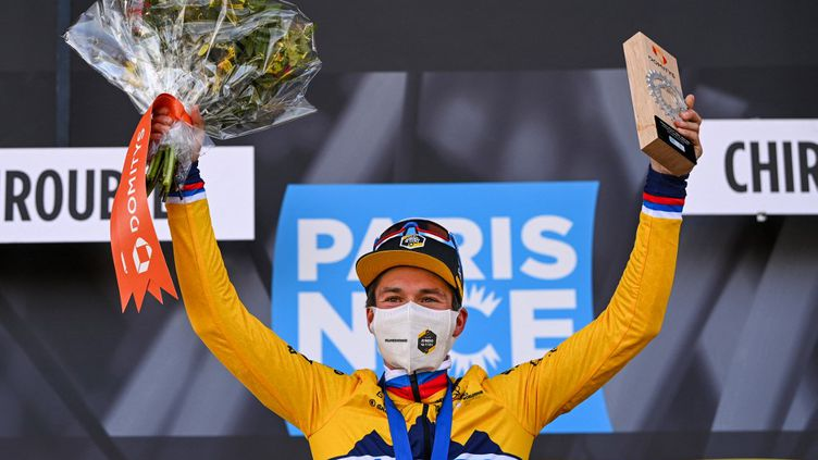 Le Slovène Primoz Roglic s'est imposé sur la 4e étape du Paris-Nice, mercredi 10 mars 2021.  (ANNE-CHRISTINE POUJOULAT / AFP)