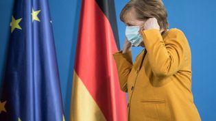 La chancelière allemande Angela Merkel, le 24 mars 2021 à Berlin (Allemagne). (STEFANIE LOOS / AFP)