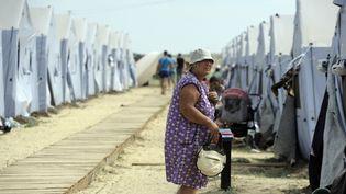Un camp de réfugiés ukrainiens à la frontières russe, le 28 août 2014. (ANDREY KRONBERG / AFP)