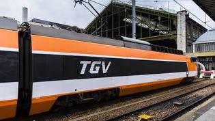 """""""Patrick"""", le premier TGV mis en service en gare de Lyon à Paris, il y a 40 ans, le 22 septembre 1981. (VINCENT ISORE / MAXPPP)"""