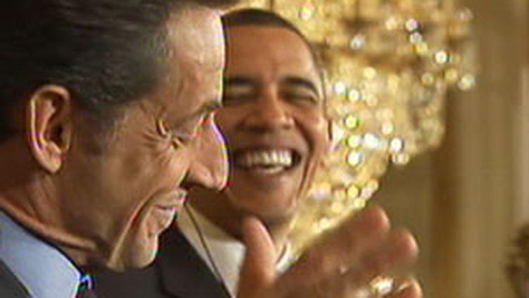 Barack Obama et Nicolas Sarkozy lors de la conférence de presse à l'issue de leurs entretiens à la Maison blanche (France 2)