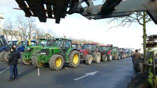 Des agriculteurs manifestent contre la réforme des zones agricoles défavorisées à Perthenay (Deux-Sèvres), le 26 janvier 2018. (MICHEL GARDE / CROWDSPARK / AFP)