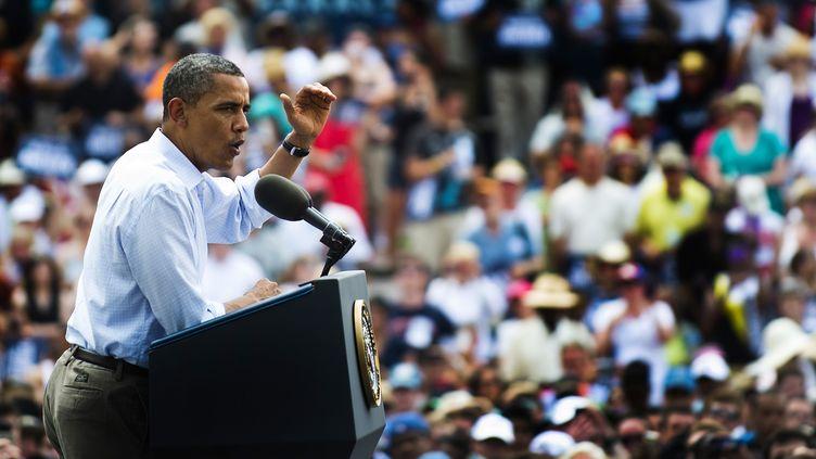 Barack Obama à Pittsburgh, en Pennsylvanie (Etats-Unis), le 6 juillet 2012. (JIM WATSON / AFP)