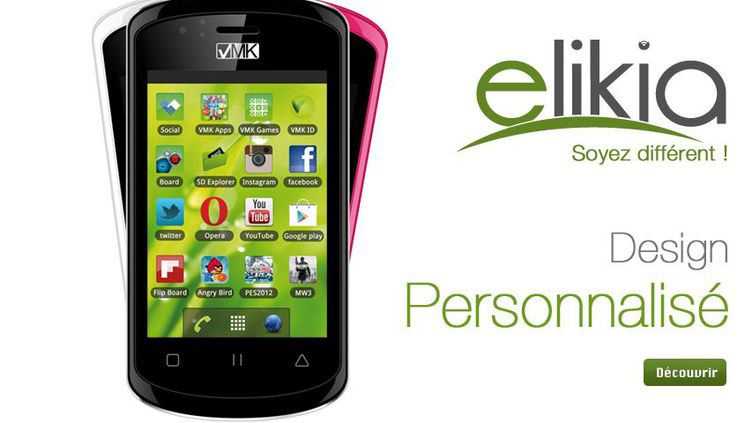 Le smartphoneElikia, conçu au Congo et présenté sur le site de son constructeur VMK. (VMK / FTVI)
