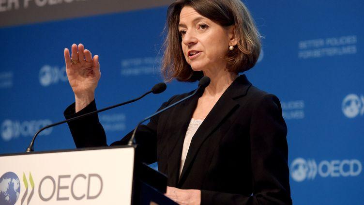 Laurence Boone, cheffe économiste de l'OCDE, 21 novembre 2018. (ERIC PIERMONT / AFP)