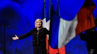 Marine Le Pen a lancé, dimanche 5 février, sa campagne lors du meeting à Lyon. (JEFF PACHOUD / AFP)