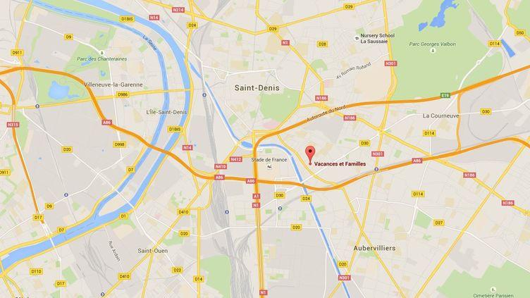 Capture d'écran de Googlemaps pointant la localisation de l'association Vacances et familles à Saint-Denis (Seine-Saint-Denis), victime d'un vol de 10 000 de chèques vacances et d'environ 10 000 euros en espèces. (GOOGLEMAPS)