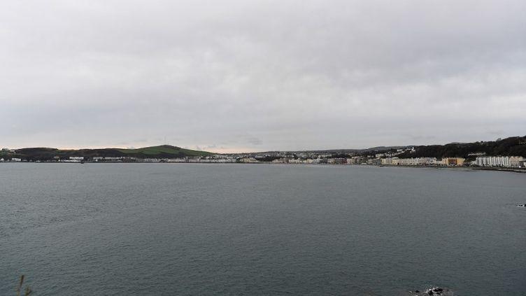 Des propriétés en bord de mer, sur l'île de Man, territoire autonome britannique au large de la côte ouest de l'Angleterre, le 8 novembre 2017. (PAUL ELLIS / AFP)