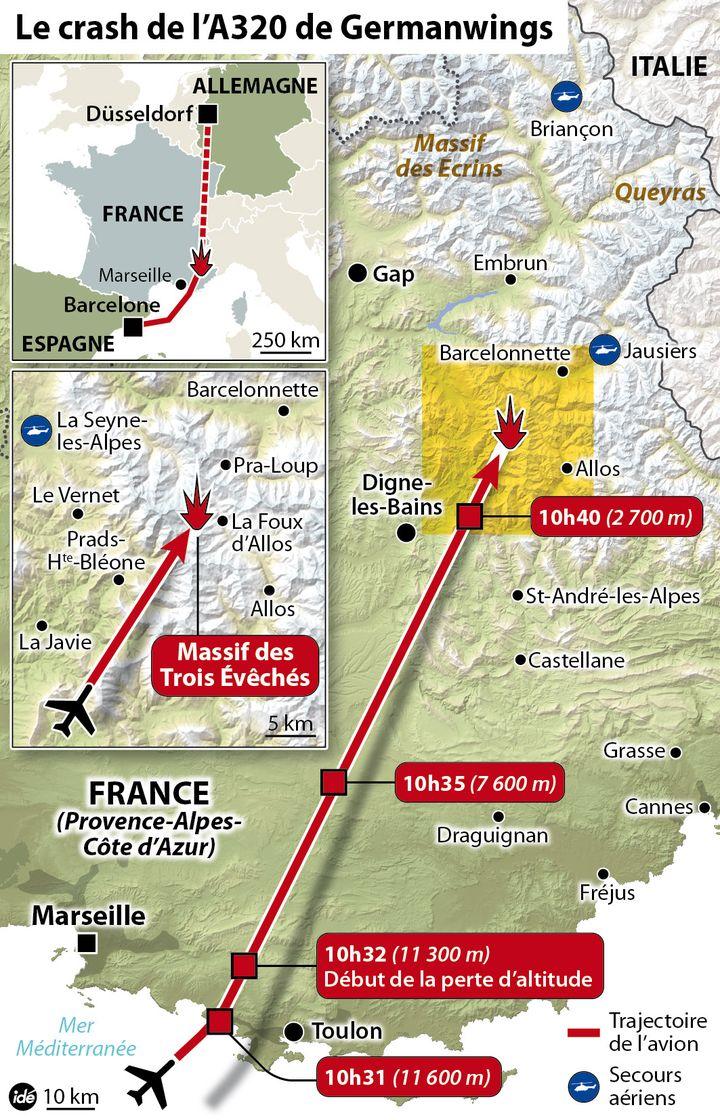 (Carte des lieux du crash avec les horaires de passage de l'avion et son altitude © IDÉ)