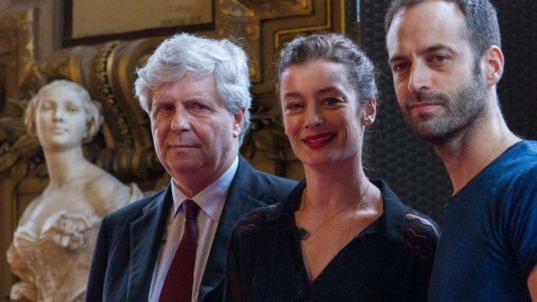 Stéphane Lissner, Aurélie Dupont et Benjamin Millepied le 4 février 2016  (Christophe Bonnet/AFP)