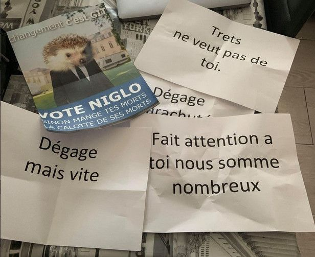 Des tracts menaçants reçus par Pascal Speter, candidat sur la liste du maire de Trets (Bouches-du-Rhône), le 10 février 2020. (PASCAL SPETER)
