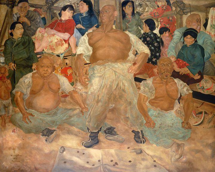 "Foujita, ""Lutteurs à Pékin"", 1935, Masakichi Hirano Art Foundation  (Fondation Foujita / Adagp, Paris, 2018)"
