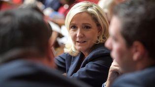 La présidente du Rassemblement national, Marine Le Pen, lors d'une séance de questions au gouvernement à l'Assemblée nationale (Paris), le 22 octobre 2019. (ERIC FEFERBERG / AFP)