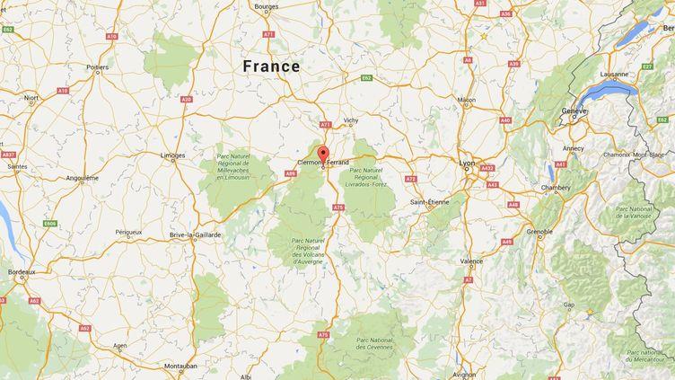 Capture d'écran d'une carte Google pointant la ville de Clermont-Ferrand, où une bagarre a éclaté au Luna Park, le 1er novembre 2015. ( GOOGLE MAPS)