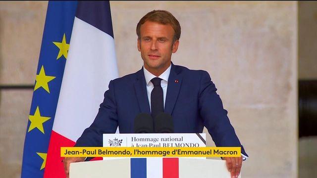 """VIDEO. Hommage à Jean-Paul Belmondo : """"Nous l'aimons parce qu'il nous ressemblait"""", déclare Emmanuel Macron"""