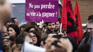 Des enseignants et directeurs d'école manifestent après le suicide de Christine Renon, directrice d'une école maternelle de Pantin (Seine-Saint-Denis), le 3 octobre 2019 à Bobigny (Seine-Saint-Denis). (MAXPPP)