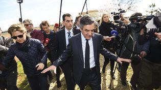 François Fillon, le 2 mars 2017, lors d'un déplacement à Nîmes (Gard). (SYLVAIN THOMAS / REA)