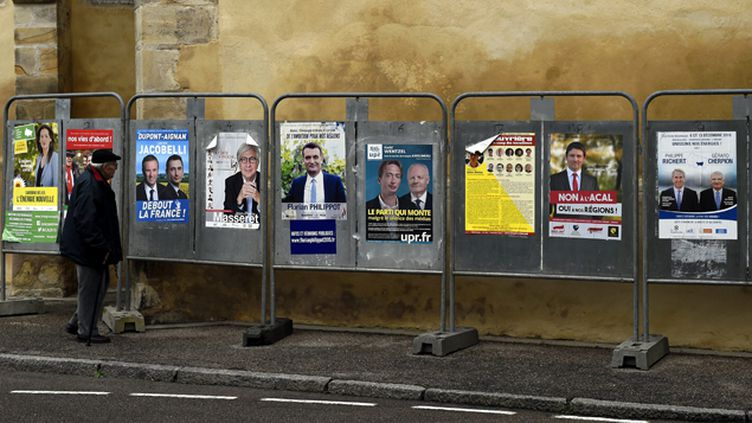 (Panneaux électoraux pour la région Alsace-Champagne-Ardennes-Lorraine © Maxppp)