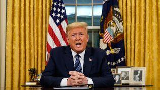 Donald Trump s'adresse aux américains et donne ses nouvelles consignes par rapport au conoravirus, depuis Washington, le 11 mars 2020. (DOUG MILLS / POOL)