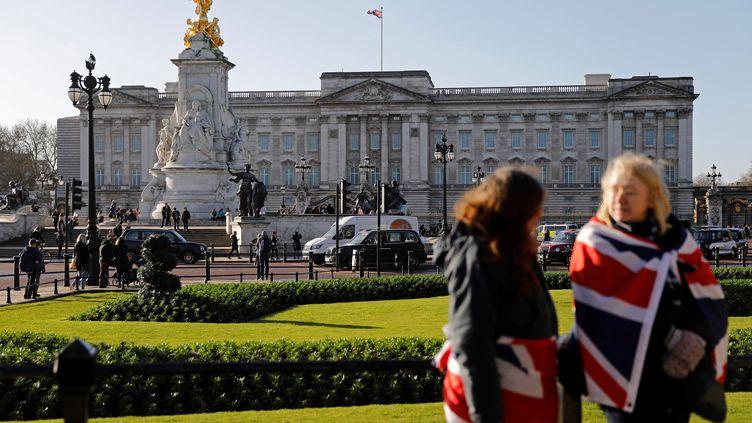 des touristes portant le drapeau anglais devant Buckingham Palace, à Londres (Royaume-Uni), le 9 janvier 2020. (TOLGA AKMEN / AFP)
