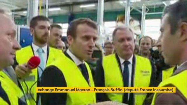 En visite de l'usine Whirlpool d'Amiens, Emmanuel Macron est interpellé par François Ruffin