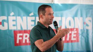 Benoît Hamon, chef de file de Génération.s, à la Fête de l'Humanité, le 15 septembre 2018, à La Courneuve. (MICHEL STOUPAK / NURPHOTO / AFP)