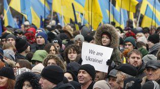 Une manifestation à Kiev en Ukraine place Maidan, le 22 février 2015. ( VALENTYN OGIRENKO / REUTERS)