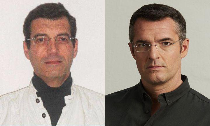 """A gauche, Xavier Dupont de Ligonnès. A droite, Arnaud Ducret incarnant Christophe de Salin dans """"Un homme ordinaire"""". (OUEST FRANCE / ADE ADJOU / M6)"""