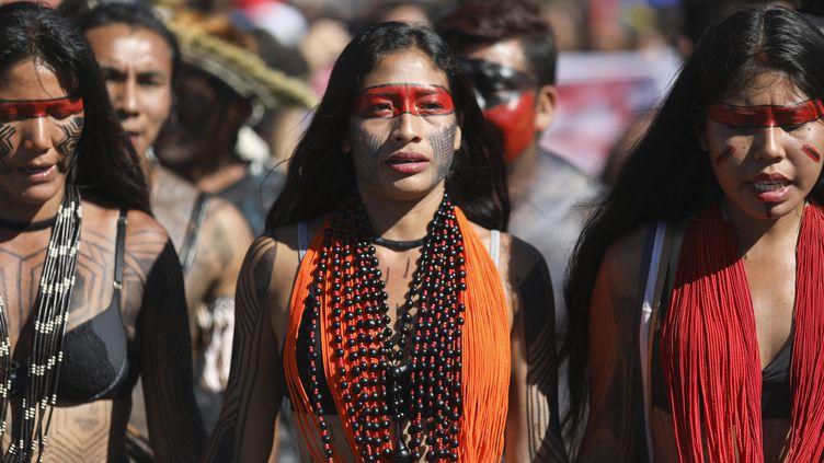 Manifestation des peuples autochtones de l'Amazonie, le 26 avril 2019 à Brasilia (SERGIO LIMA / AFP)