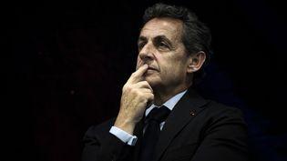Nicolas Sarkozy lors d'un déplacement à Jonage (Rhône), le 12 mai 2016. (JEFF PACHOUD / AFP)