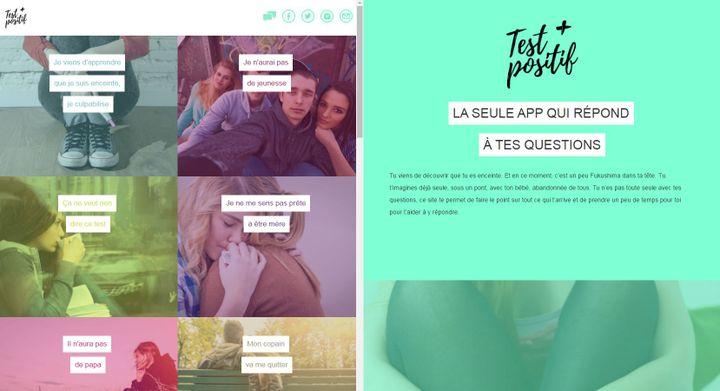 Le site Testpositif.com souhaite répondre aux questions des jeunes femmes enceintes. Il lutte également contre l'avortement. (TESTPOSITIF.COM / FRANCETV INFO)