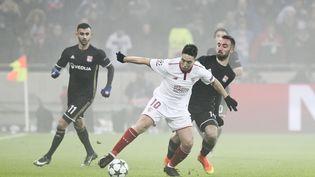 Match entre Seville et Lyon, lors du dernier match des poules de la Ligue des champions, mercredi 7 décembre. (ELYXANDRO CEGARRA / NURPHOTO)