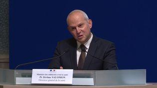 Jérôme Salomon, le direteur général de la Santé, le 3 février 2020, lors d'une conférence de presse. (FRANCEINFO)