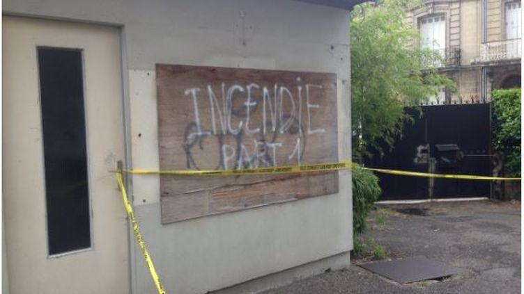 Un tag a été laissé sur le siège de la CFDT Aquitaine, à Bordeaux, incendié le30 juin 2016 vers 2 heures du matin. (CFDT AQUITAINE)