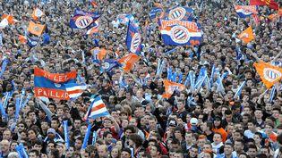 La joie des supporters de Montpellier après le titre de champion de France. (PASCAL GUYOT / AFP)